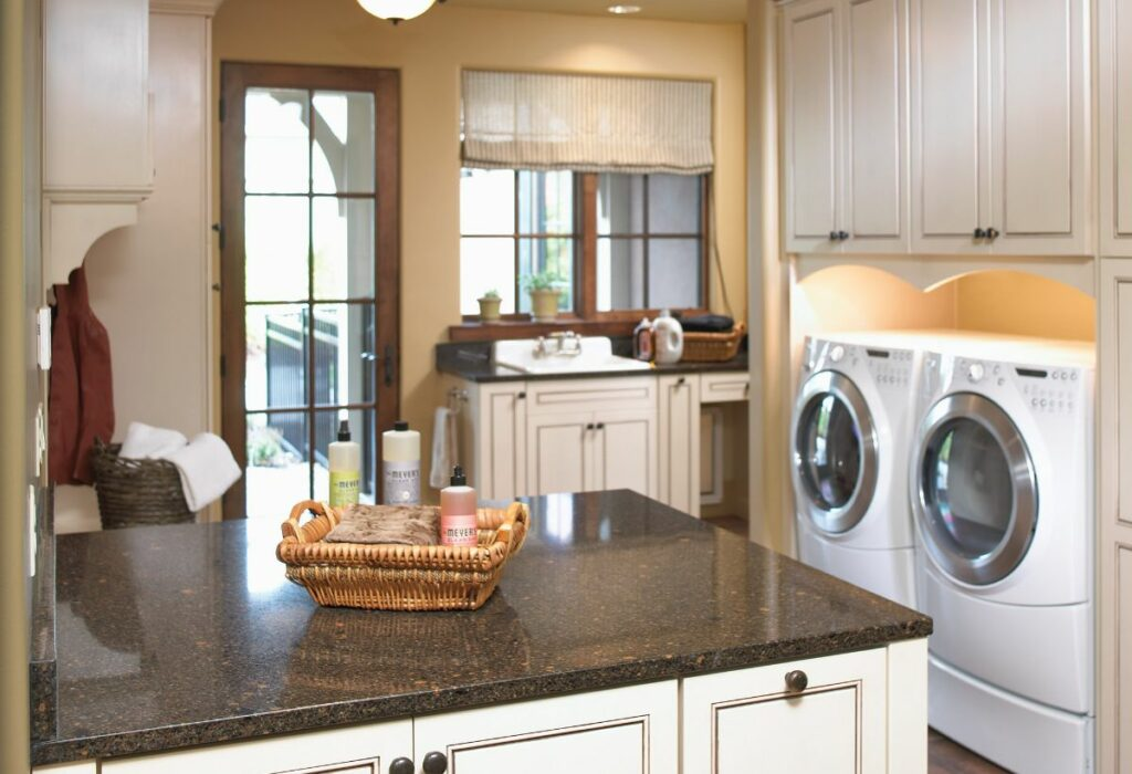 Laundry room with Cambria Oxford counters