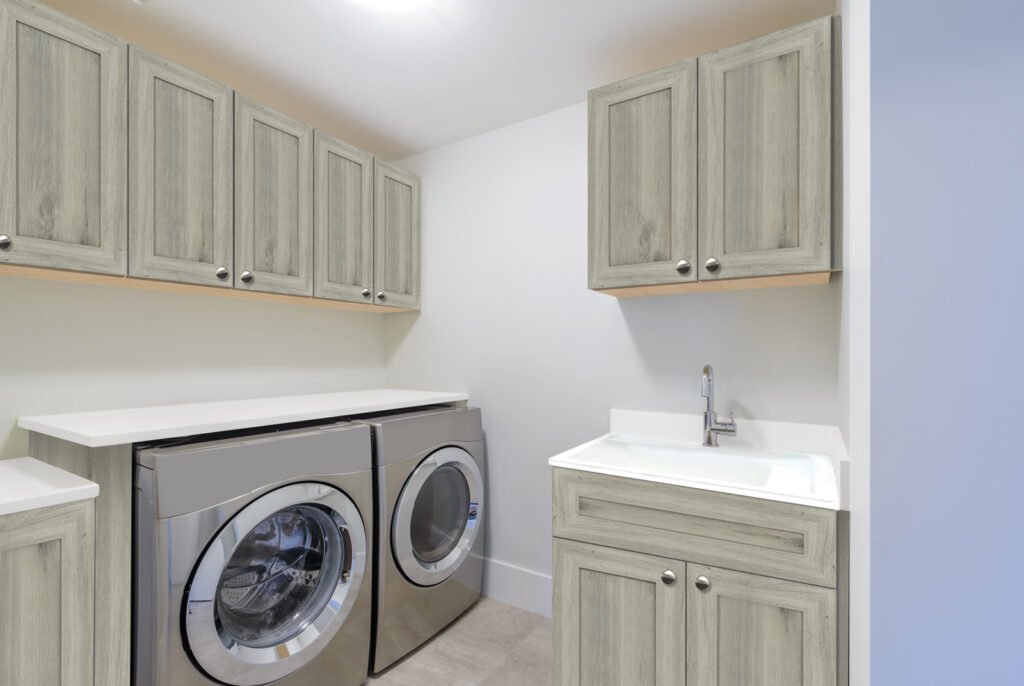 Custom laundry room storage by Cabinetsmith