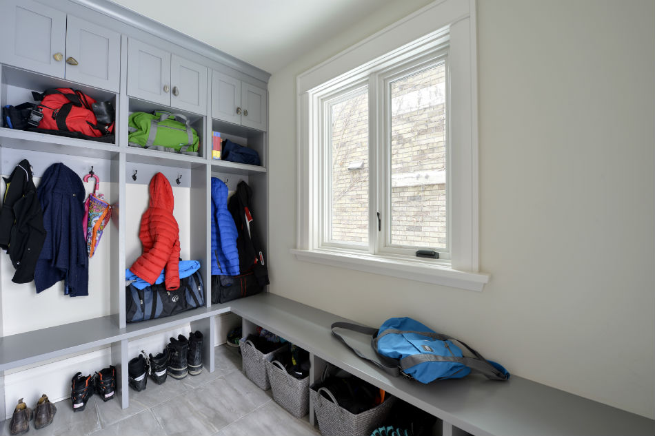 Custom mud room storage by Deslaurier