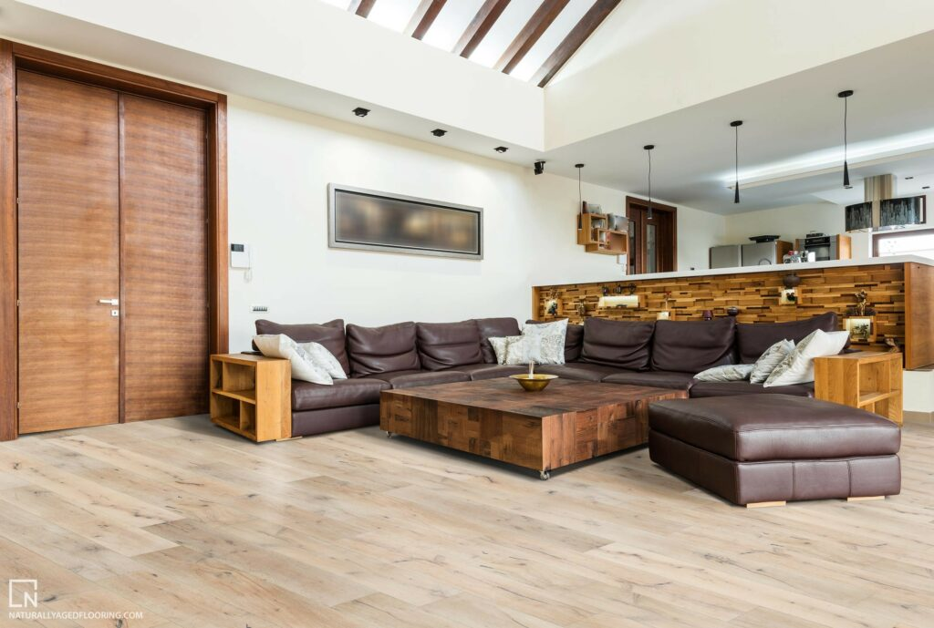 Naturally Aged Engineered Hardwood Medallion Collection - Boney Mountain in Living Room